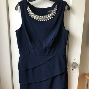 Navy jeweled party dress